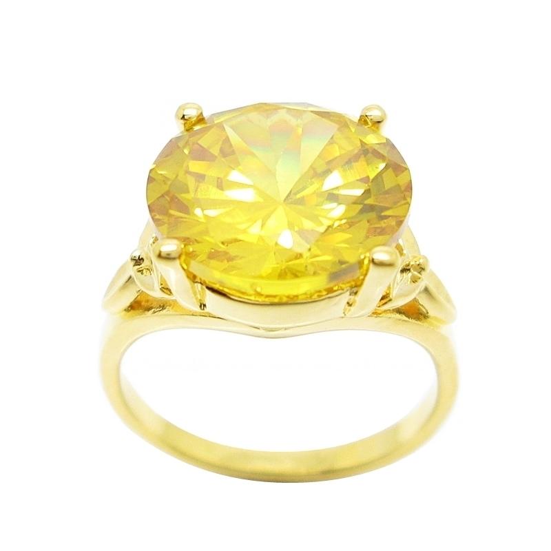 แหวนประดับพลอยกลมบุศราคัมชุบทอง