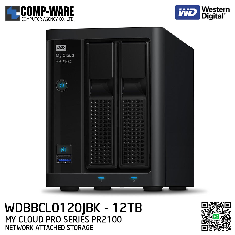 WD 12TB My Cloud Pro Series PR2100 2-Bay Network Attached Storage - WDBBCL0120JBK-SESN