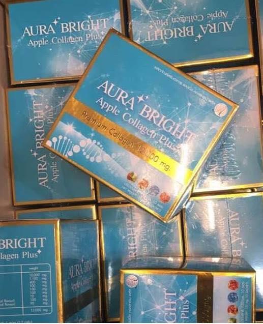 AURA BRIGHT Apple Collagen Plus Premium Collagen 12,000 mg ออร่า ไบร์ท แอปเปิ้ล คอลลาเจน พลัส