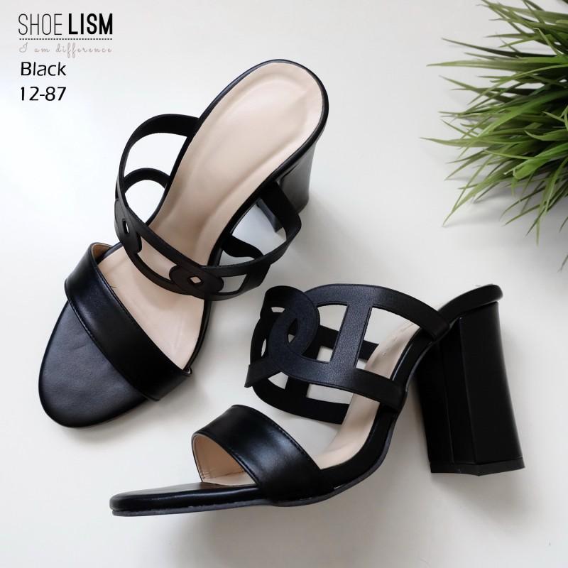 รองเท้าแมกซี่แสนสวย ใส่ละดูหรูหรา 12-87-ดำ BLACK