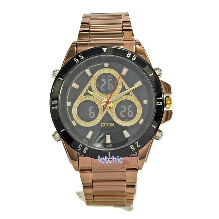 นาฬิกา O.T.S Sport watch รุ่น T8230G 2time zone นาฬิกาข้อมือผู้ชาย สีทองชมพู ของแท้ รับประกันศูนย์ 1 ปี ราคาพิเศษ ราคาถูกที่สุด