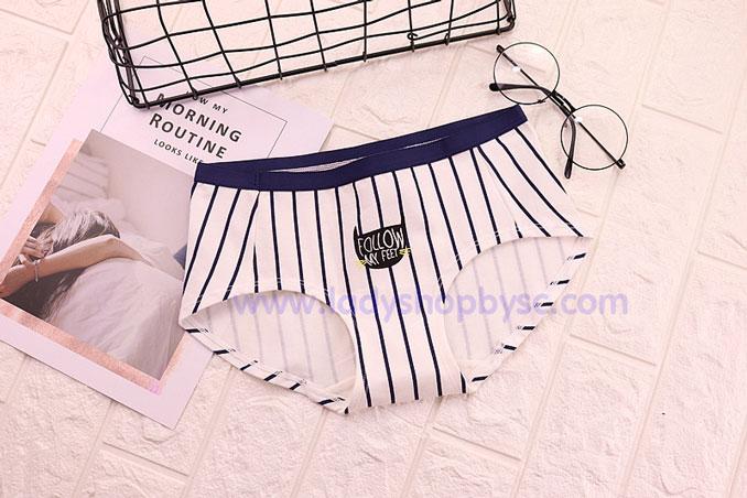 กางเกงในผ้าฝ้ายผสม พิมพ์ลายทาง
