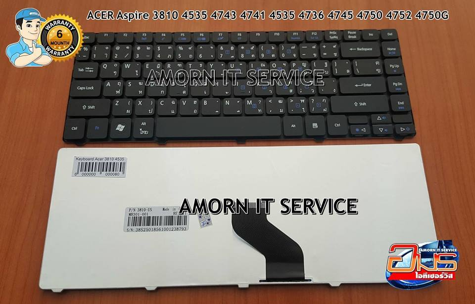 Keyboard Acer 3810 4535 4743 4741 4535 4736 4745 4750 4752 4750G 4551 4740 ไทย-อังกฤษ - อมรไอทีเซอร์วิส : Inspired by LnwShop.com