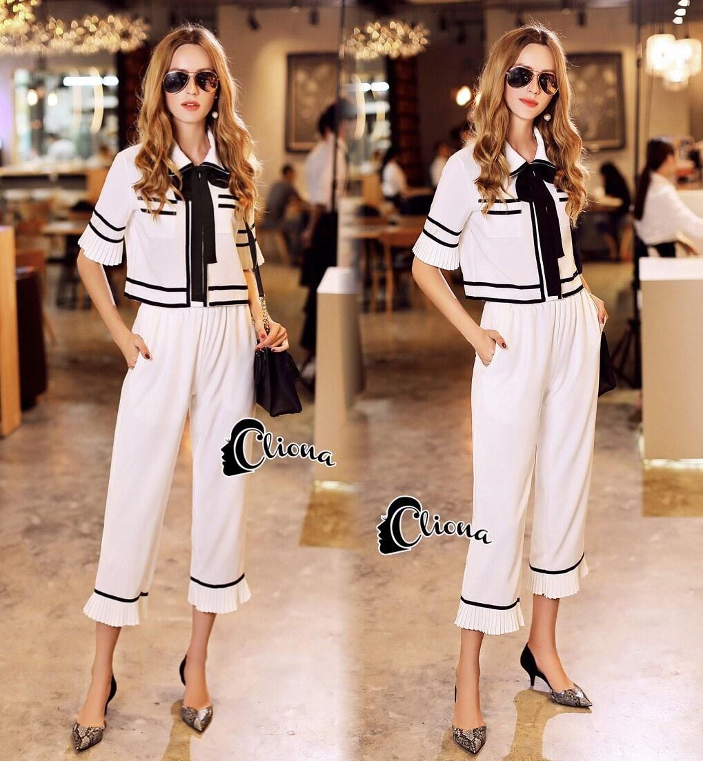 Set เสื้อสีขาว คอปกลายแขนระบาย+กางเกงขายาวสีขาว