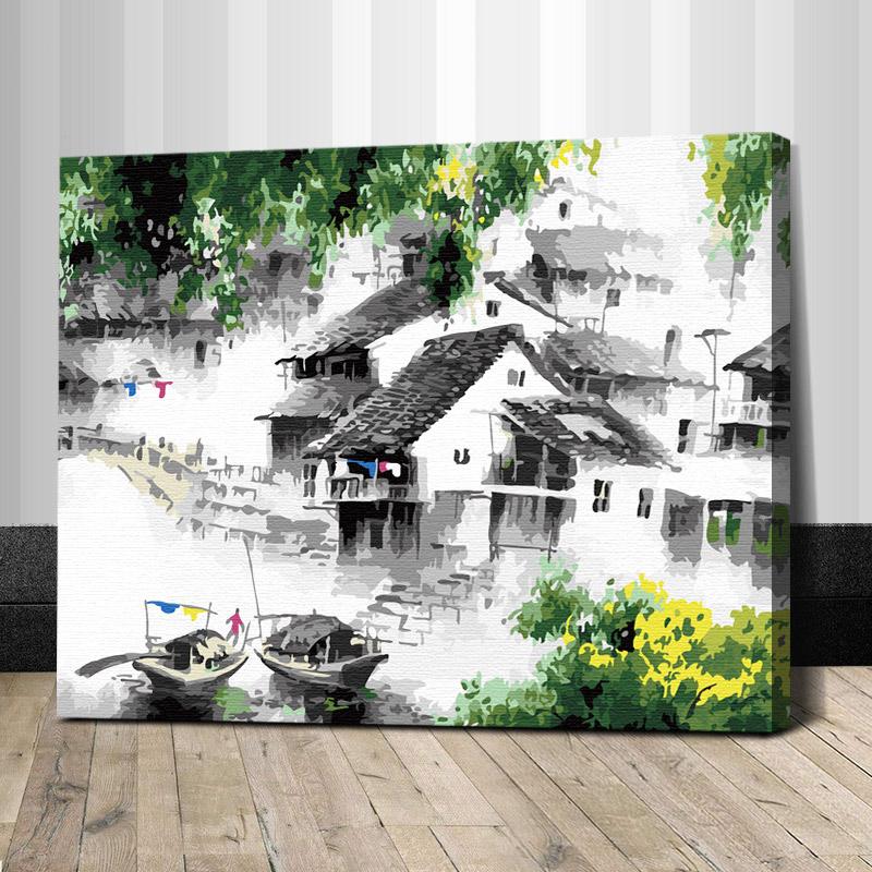 """TG043 ภาพระบายสีตามตัวเลข """"หมู่บ้านจีนในม่านหมอก"""""""