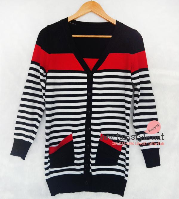 """Coat-030 เสื้อคลุมไหมพรมลายขวางกรมแดง อก 36 """" ยาว 28 """" สินค้าพร้อมส่งค่ะ"""