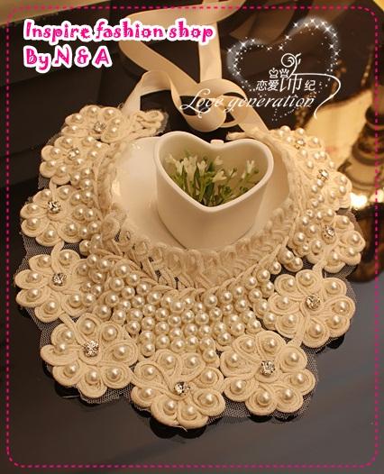 สร้อยคอไข่มุกดอกไม้ 2012 spring and summer, high-quality vivi catwalk models handmade pearl collar collar necklace false collar