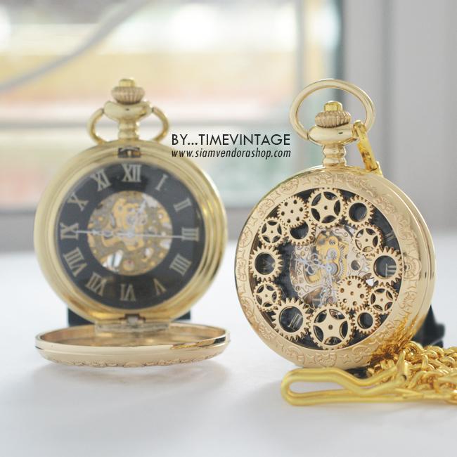 นาฬิกาพกไขลานฝาฉละเฟืองนาฬิกาตัวเรือนสีทองหน้าปัดดำโรมัน