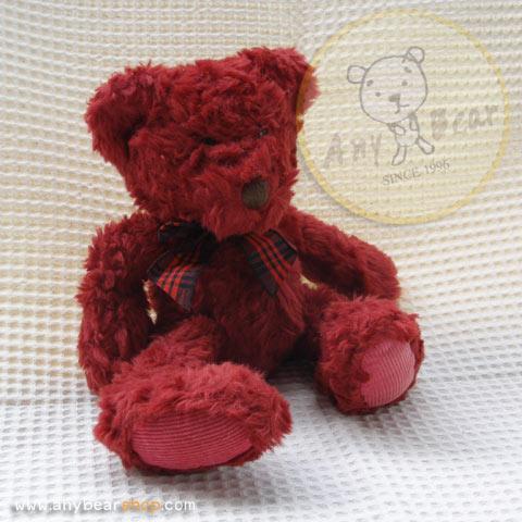 หมีนั่งสีแดงเข้ม สูง 25 ซม.