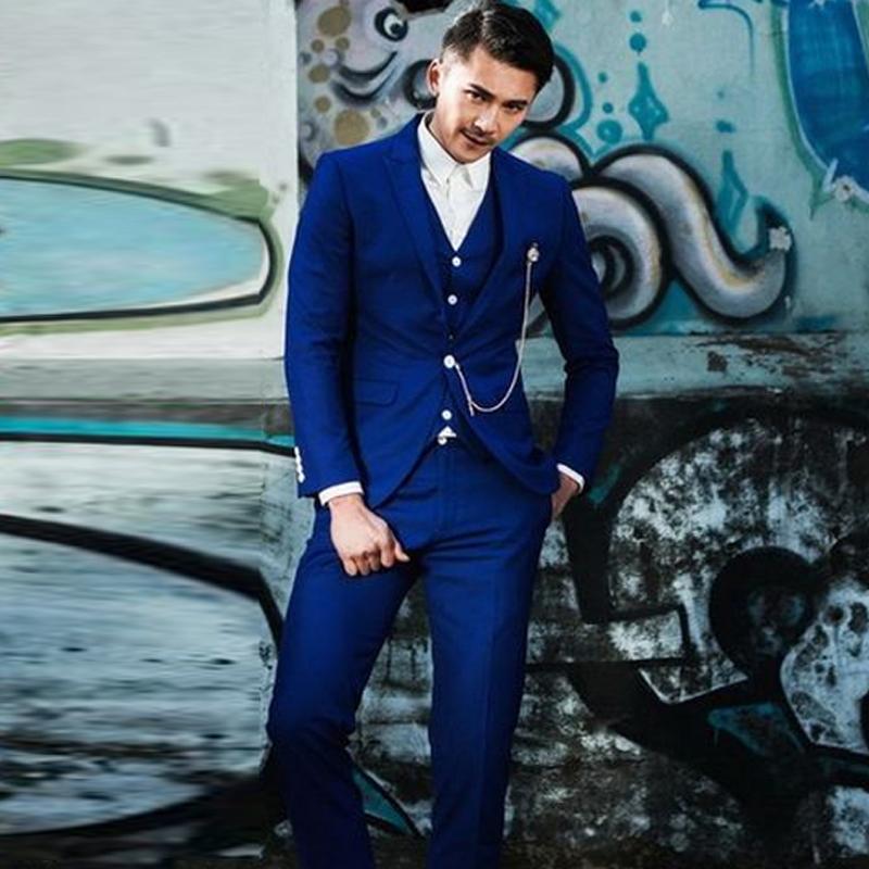 สูทชาย,ชุดสูท สีน้ำเงินสด +เสื้อกั๊ก พร้อมส่ง XL,2XL