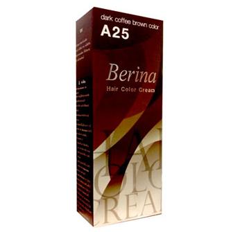 Berina เบอริน่า ครีมย้อมผม A25 สีกาแฟเข้ม สีนี้ถูกใจคุณครูฝ่ายปกครองสุดๆค่ะ น้องๆคนไหนที่เรียนอยู่แล้วอยากเป็นที่รักของคุณครูแนะนำให้ลองสีนี้เลยค่ะ มืดสนิทไร้ประกายใดๆ