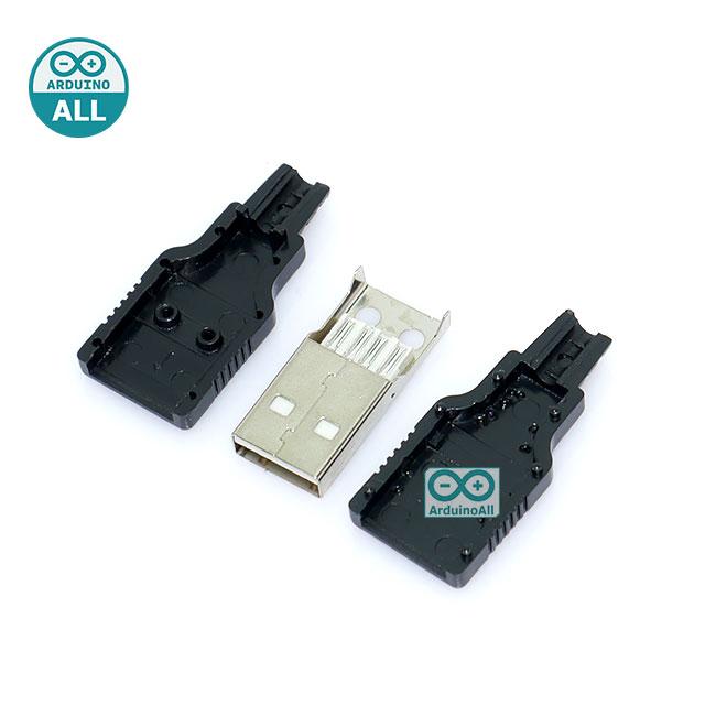 USB Jack male with shell USB connector A type 4P หัว USB ตัวผู้ พร้อมกรอบ