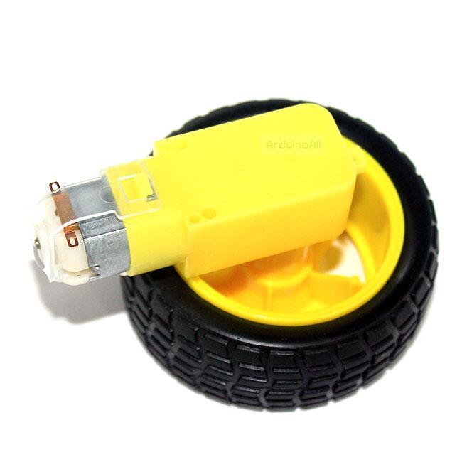 เกียร์มอเตอร์และล้อรถ สำหรับ Smart Robot Car Gear Motor with Tire เฟือง 1:120
