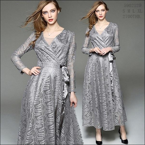 59020129 / S M L XL / 2016 Lace dress พรีออเดอร์ งานคัตติ้งยุโรป คุณภาพดีสมราคา สวยคอนเฟริ์ม