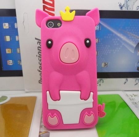 เคสไอโฟน 5/5s/SE (Case Iphone 5/5s/SE) เคสซิลิโคน หมูน้อย สีชมพูเข้ม