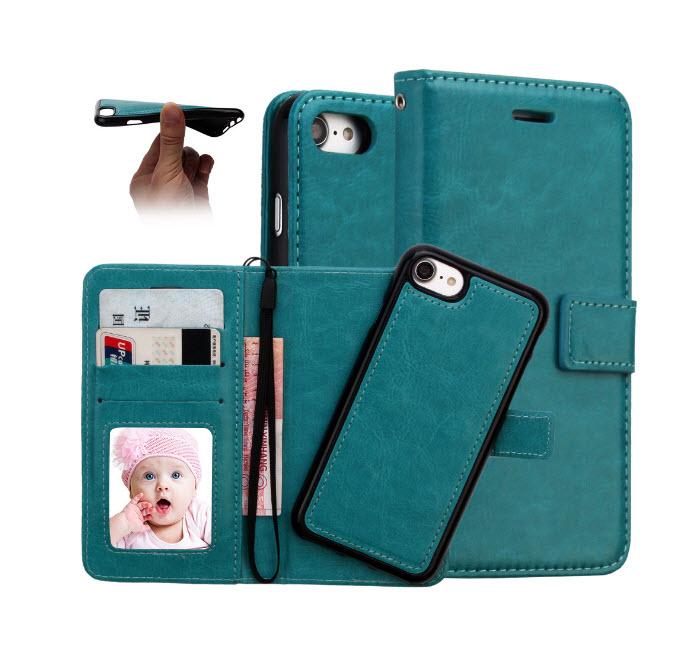 เคส 2IN 1 (เคสไอโฟน+กระเป๋า) ถอดแยกได้ สีฟ้า Iphone 7