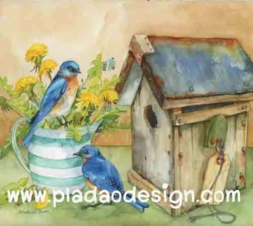 กระดาษอาร์ตาพิมพ์ลาย สำหรับทำงาน เดคูพาจ Decoupage แนวภาำพ นกน้อยสีฟ้า 2 ตัว นั่งคุยกันอยู่บนบัวรดน้ำสังกะสีปลูกดอกไม้ หน้าบ้านนก สีสวยหวาน (ปลาดาวดีไซน์)