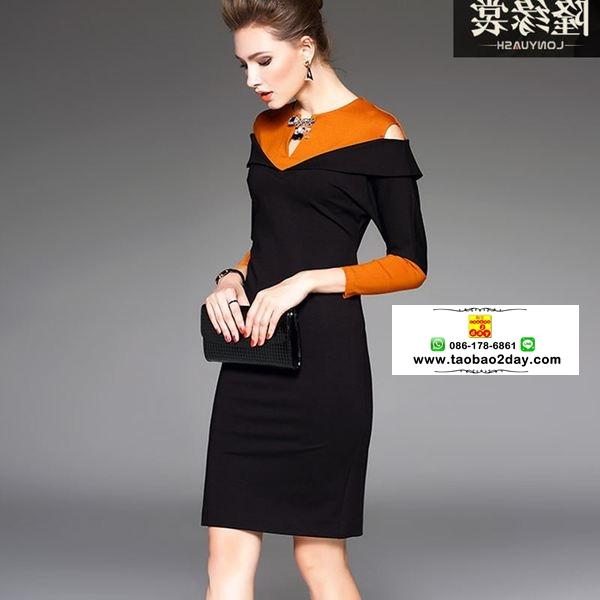 ชุดทำงานออฟฟิต เดรสแขนยาวผ้ายืดโชวร์ไหล่ มี 2 สี คือ ดำและเขียว