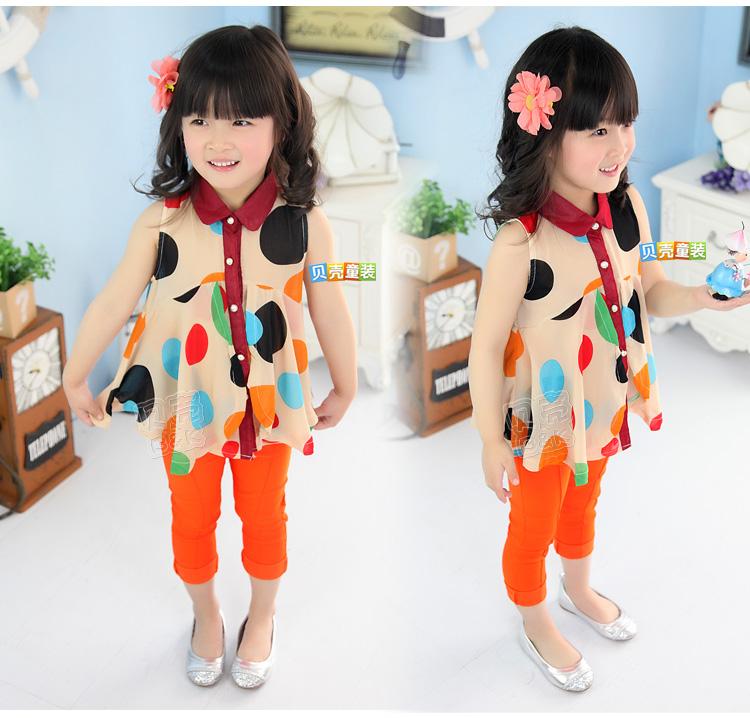 เสื้อผ้าแฟชั่นเด็ก ผ้าชีฟองสีครีม ลายจุด น่ารัก สดใส สไตล์เกาหลี