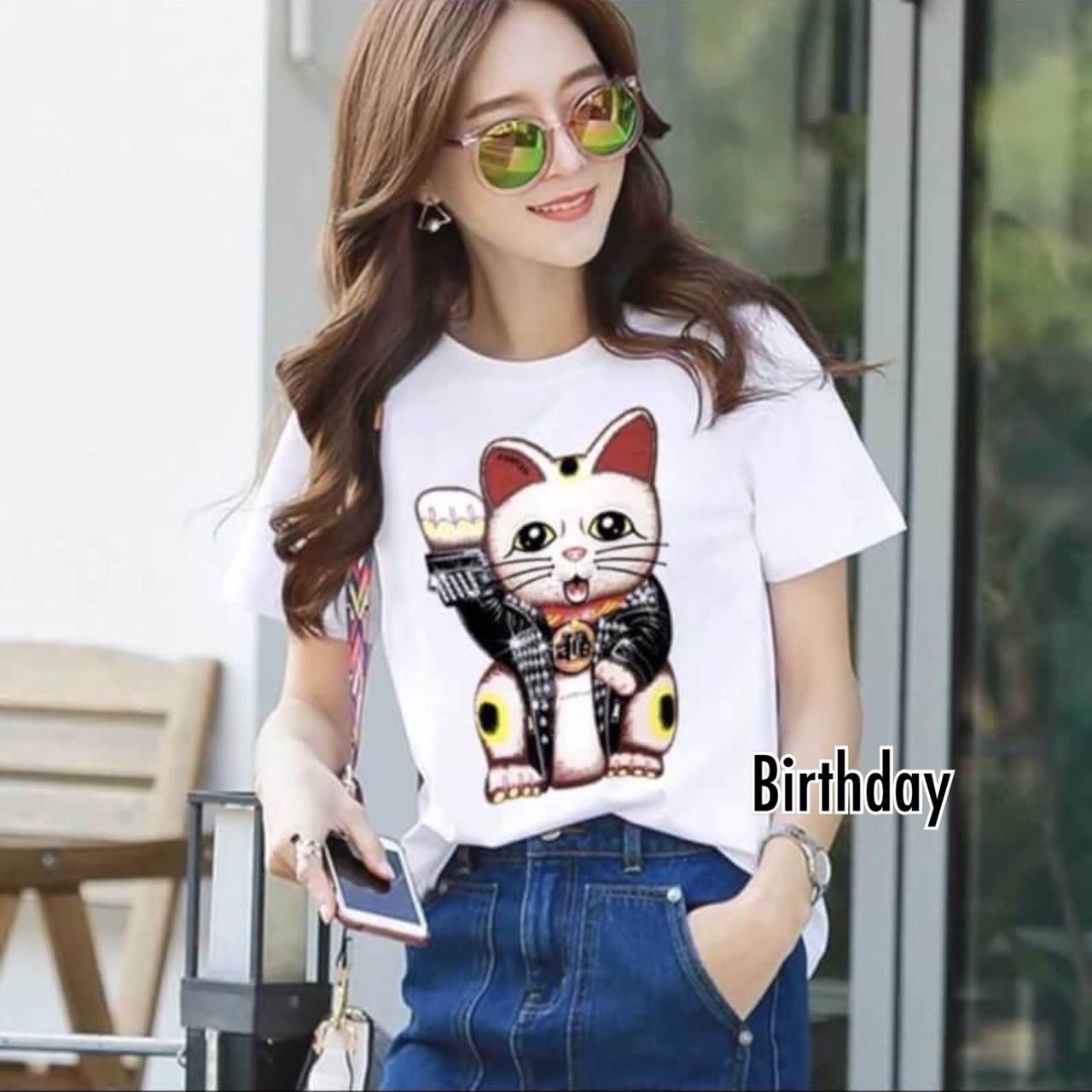 เสื้อเกาหลี พร้อมส่ง T-Shirt ลายแมว