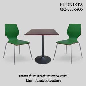 ชุดโต๊ะอาหารขาแชมเปญพร้อมเก้าอี้ดัดโค้งสีเขียว 2 ที่นั่ง