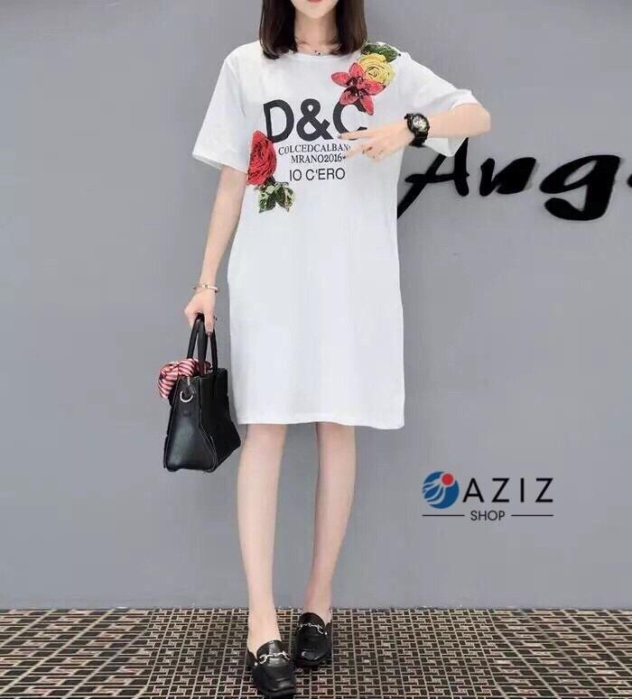 เดรสเกาหลี พร้อมส่ง เดรสผ้ายืด D&G