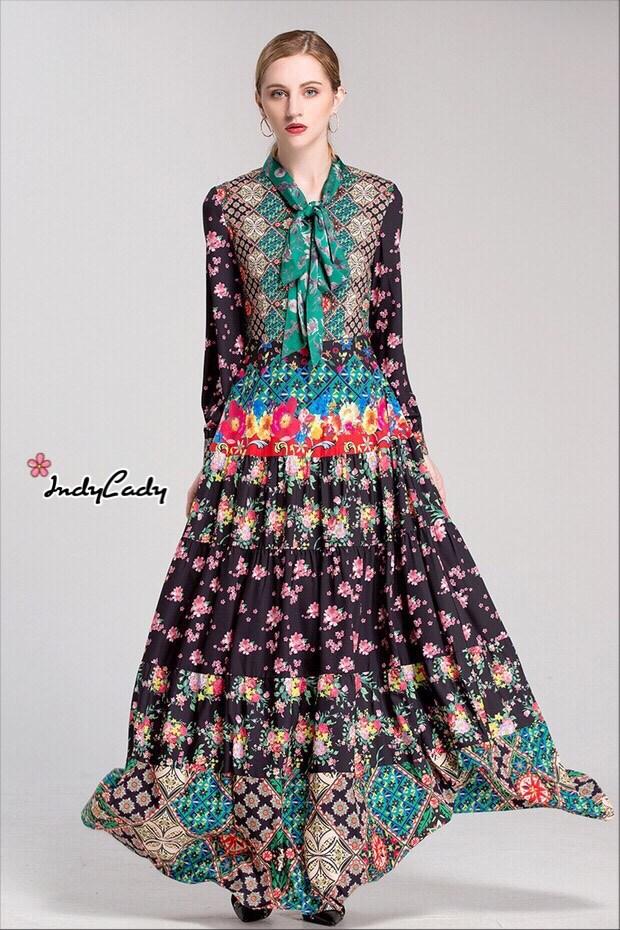 ชุดเดรสเกาหลี พร้อมส่ง Dress ยาว คอผูกโบว์