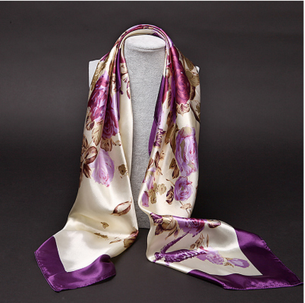ผ้าพันคอ/ผ้าคลุมไหล่ผ้าไหมผ้าซาติน ขนาดใหญ่ 90 * 90 CM