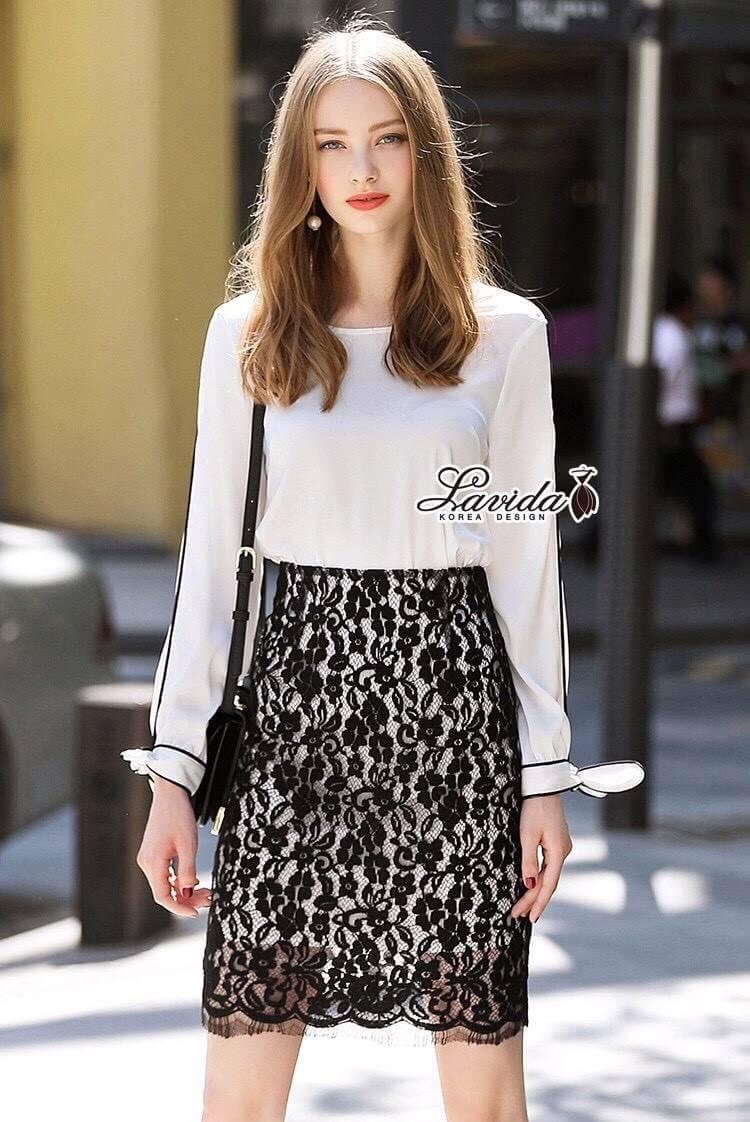 ชุดเซทแฟชั่น เซตเสื้อ+กระโปรง ดีไซน์ตัวเสื้อสีขาวทรงแขนยาว