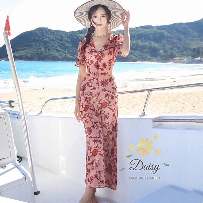 เดรสแฟชั่น เดรสผ้าชีฟองพิมพ์ลายดอกไม้สีชมพูกะปิ แบบน่ารักมากค่ะ