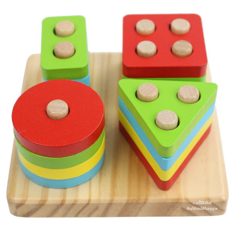ของเล่นไม้สวมหลักเรขาคณิต Shape Column