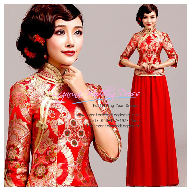 f-0284 ชุดยกน้ำชา กี่เพ้าสีแดงน่ารัก สำหรับงานหมั้น งานแต่งงาน พิธีจีน สวย หรู สง่า มากค่ะ