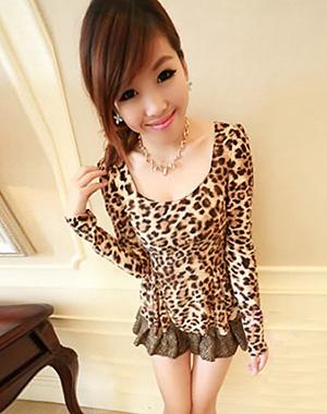 ++เสื้อผ้าเกาหลี++*พร้อมส่ง*เสื้อผ้าแฟชั่นลายเสือดาวแขนยาวแบบเรียบแต่สวย