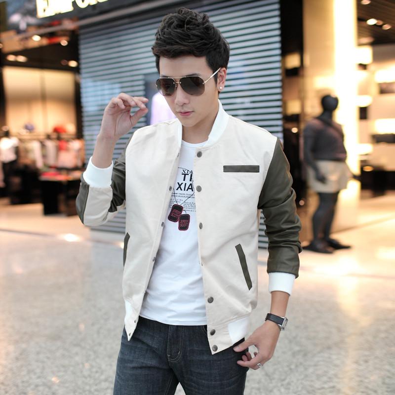 Pre Order เสื้อแจ็คเก็ตเกาหลี แขนยาวคอตั้ง สีทูโทนแต่งแขนด้วยหนัง มี2สี