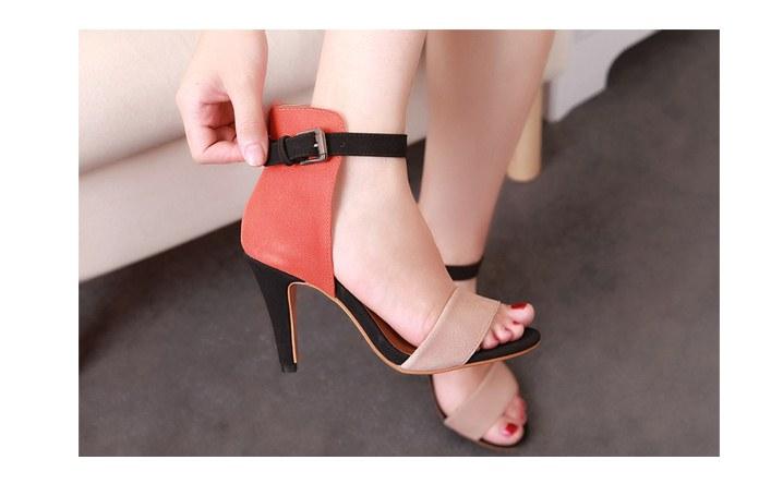 Pre Order - รองเท้าแฟชั่น ส้นสูง รัดข้อหุ้มส้น เป็นหนังกำมะหยี่ สี : สีแดงน้ำตาล / สีส้ม