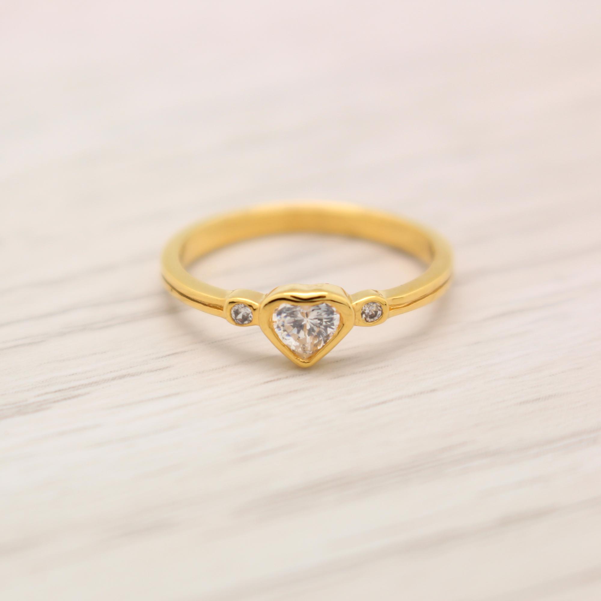 แหวนเพชร CZ รูปหัวใจ ไซส์ 52