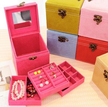 กล่องใส่แหวนกำมะหยี่ สีชมพู