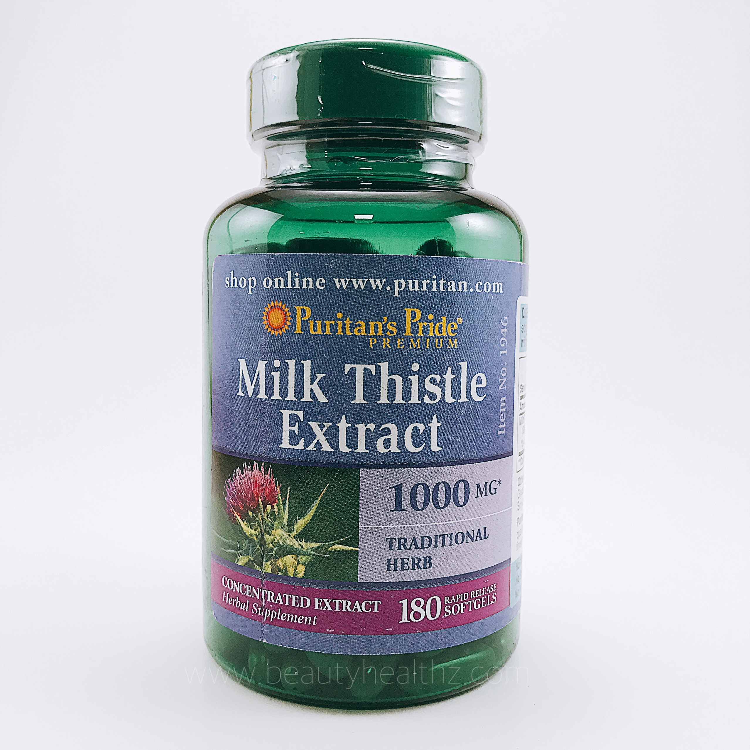 Puritan's Pride, Milk Thistle 4:1 Extract 1000 mg (Silymarin), 180 Softgels