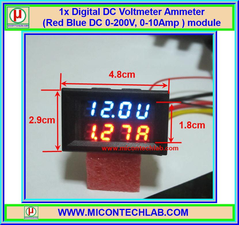 1x Digital DC 0-200V 10A Voltmeter Ammeter Red Blue module